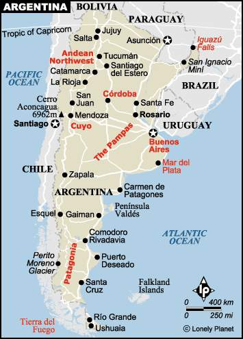 Argentina Map - Argentina map lonely planet